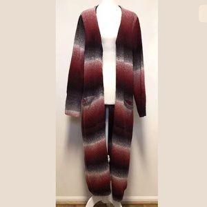 Joseph A. Duster Long Cardigan Wool Blend Pockets